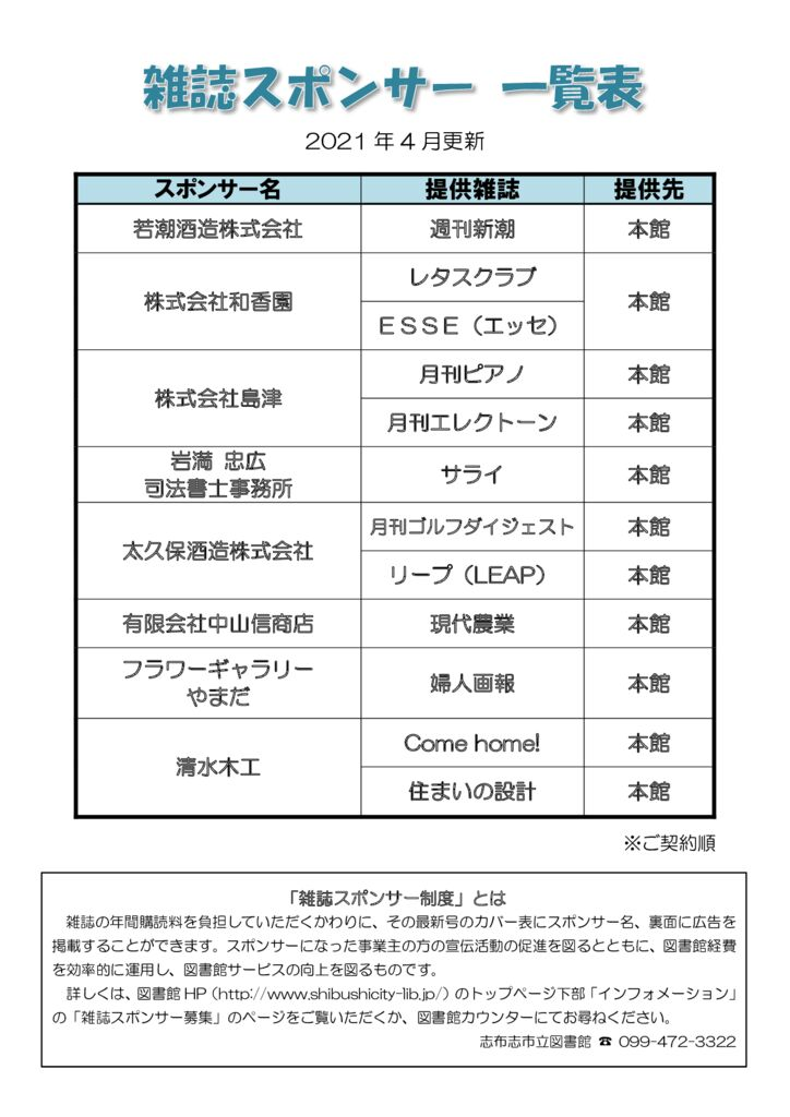 雑誌スポンサー2021のサムネイル